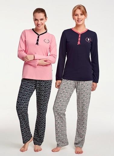U.S.Polo Assn. Pembe Patlı Pijama Takım Lacivert